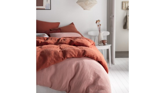 Housse de couette - Tendresse rose - gaze de coton