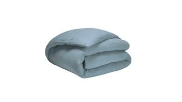 Housse de couette - Tendresse bleu alpin - gaze de coton