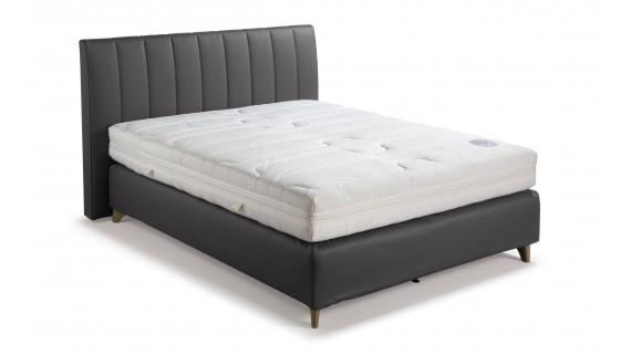Lit Physio Velda avec boxsprings et tête de lit , en cuirlook noir